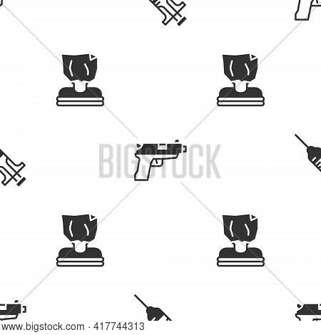 Set Syringe, Pistol Or Gun And Kidnaping On Seamless Pattern. Vector