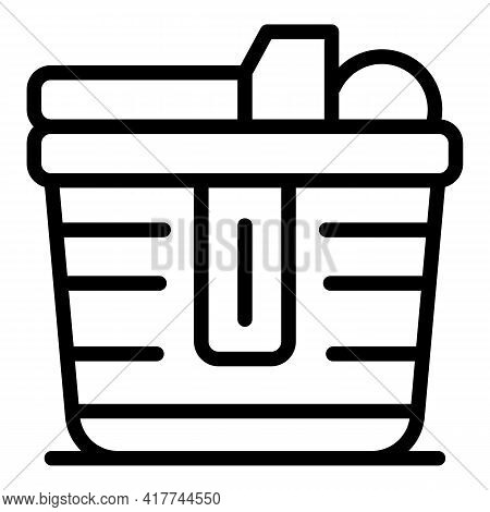 Travel Picnic Basket Icon. Outline Travel Picnic Basket Vector Icon For Web Design Isolated On White