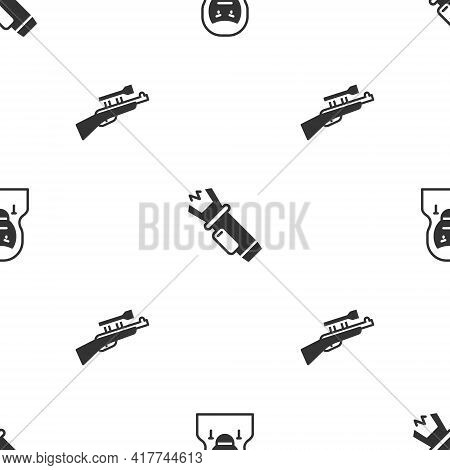 Set Thief Mask, Police Electric Shocker And Sniper Rifle With Scope On Seamless Pattern. Vector
