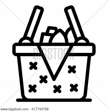 Weekend Picnic Basket Icon. Outline Weekend Picnic Basket Vector Icon For Web Design Isolated On Whi