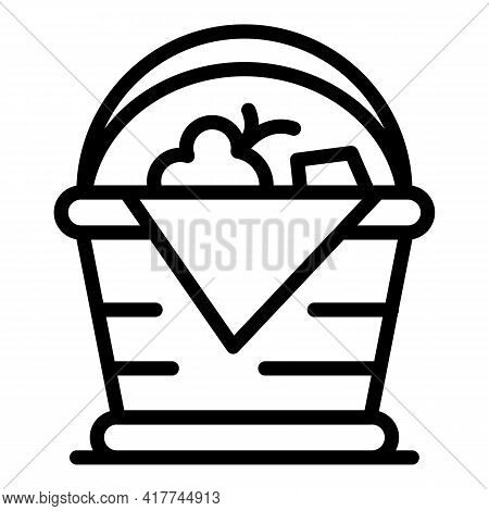 Handmade Picnic Basket Icon. Outline Handmade Picnic Basket Vector Icon For Web Design Isolated On W