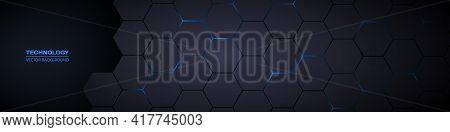 Dark Gray And Blue Horizontal Hexagonal Technology Abstract Vector Background. Blue Bright Energy Fl