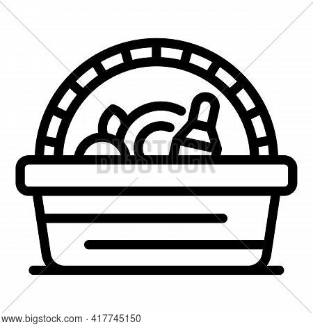 Party Picnic Basket Icon. Outline Party Picnic Basket Vector Icon For Web Design Isolated On White B