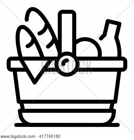 Summer Picnic Basket Icon. Outline Summer Picnic Basket Vector Icon For Web Design Isolated On White
