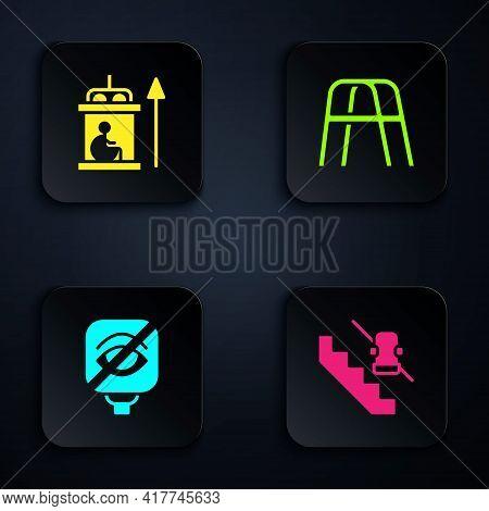 Set Disabled Elevator, Elevator For Disabled, Blindness And Walker. Black Square Button. Vector