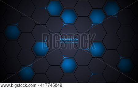Dark Gray And Blue Hexagonal Technology Abstract Vector Background. Blue Bright Energy Flashes Under