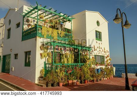 Rustical House At The Village Of Punta Mujeres On Lanzarote Island In Spain
