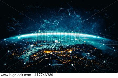 Global Network Connection Covering The Earth With Lines Of Innovative Perception . Concept Of 5g Wir