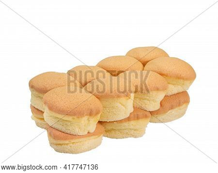 Butter Sponge Cake, A Close Up Of Homemade Yummy Small Castella Cake Bakery Isolated On White Backgr