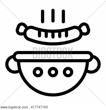 Roasted Sausage Icon. Outline Roasted Sausage Vector Icon For Web Design Isolated On White Backgroun