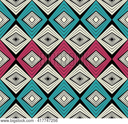 African Fashion Seamless Pattern Ornament In Vibrant Colours, Picture Art And Abstract Background Fo