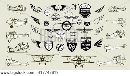 Monochrome Mega Set Of Retro Airplanes, Emblems, Design Elements , Badges And Logo Patches On The Th