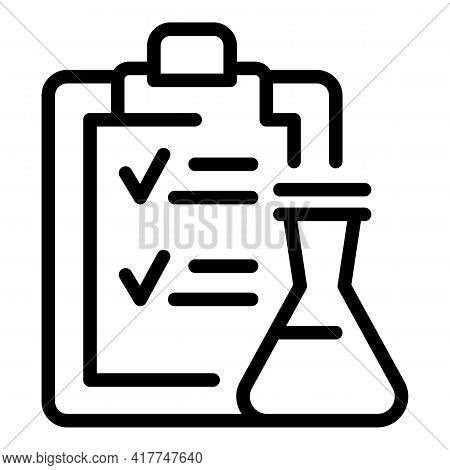 Flask Test Icon. Outline Flask Test Vector Icon For Web Design Isolated On White Background