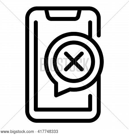 Negative Phone Test Icon. Outline Negative Phone Test Vector Icon For Web Design Isolated On White B