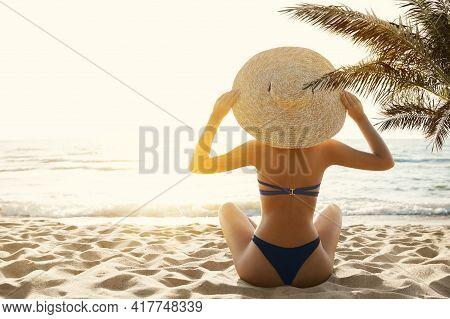 Woman Bikini Tropical Beach Back View. Beauty Model Girl In Sumer Hat Sun Tanning Under Palm. Summer