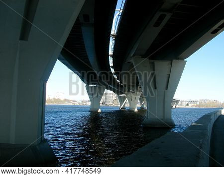 View Of The River Under The Two Tracks Of The Motorway Bridge
