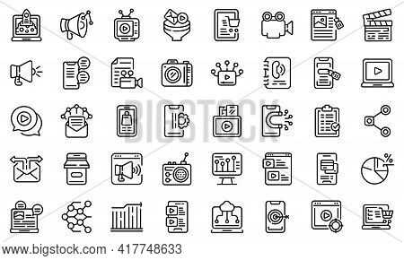 Social Media Marketing Icons Set. Outline Set Of Social Media Marketing Vector Icons For Web Design