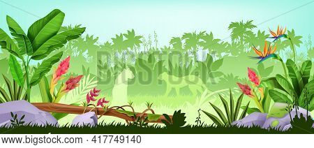 Jungle Background, Tropical Rainforest Landscape, Exotic Wood Vector View, Green Leaves, Palm Trees,