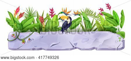 Stone Sign Board, Vector Rock Game Element, Toucan, Exotic Tropical Flowers, Banana Leaves. Grey Cra