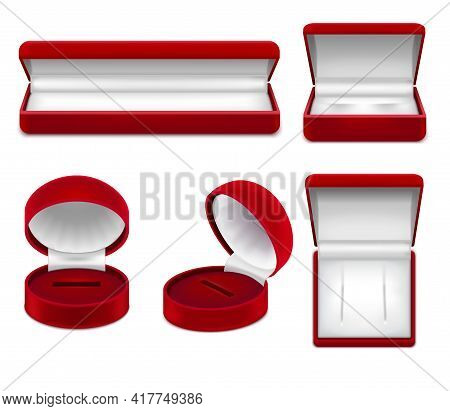 Set Of Realistic Open Red Jewelry Boxes For Necklace Bracelet Ear Rings Or Studs Isolated Vector Ill