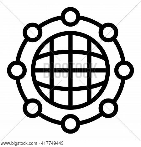Global Network Icon. Outline Global Network Vector Icon For Web Design Isolated On White Background