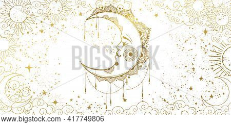 White Background With A Gold Crescent Moon With A Face. A Template For Astrology, Tarot, A Banner Fo
