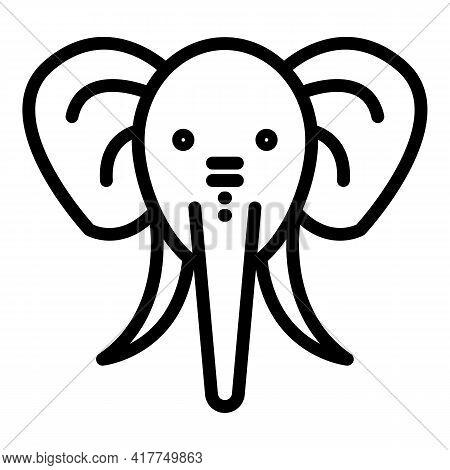 Wild Elephant Icon. Outline Wild Elephant Vector Icon For Web Design Isolated On White Background