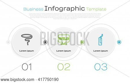 Set Line Lasso, Pointer To Wild West And Dynamite Bomb. Business Infographic Template. Vector