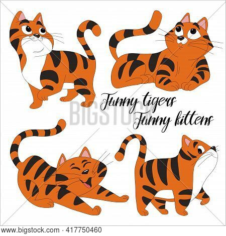 Ginger Tabby Kittens. Active Healthy Kitten With Orange, Red And Yellow Hair, Cute Funny Pet. Vector