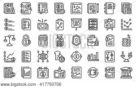 Financial Planning Icons Set. Outline Set Of Financial Planning Vector Icons For Web Design Isolated