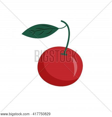 Cherry Berry Vector Icon. Cherries Illustration On Isolated White Background. Sweet Cherry Healthy F