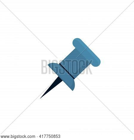 Blue Push Pin. Needle For Fixation Memo On Board. Vector Illustration Isolated On White Background.
