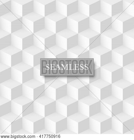 Seamless Geometric Cube Background. 3d Abstract White And Grey Design Vector Illustration. Retro Sty