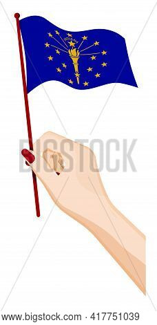 Female Hand Gently Holds Small Flag Of American State Of Indiana. Holiday Design Element. Cartoon Ve