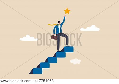 Accomplishment Or Reaching Business Goal, Smart Confident Businessman Climb Up Stair To The Top To R