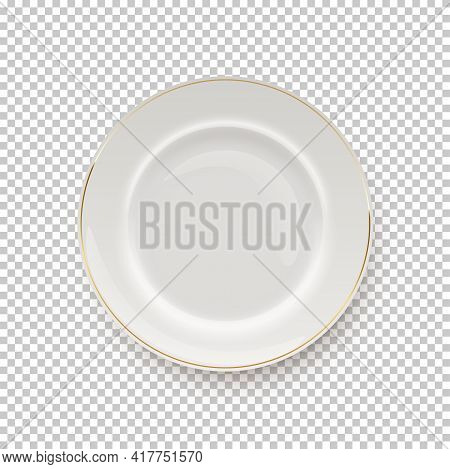White Plate With Golden Border On Transparent Background. Empty Dish For Dinner, Breakfast Or Lunch