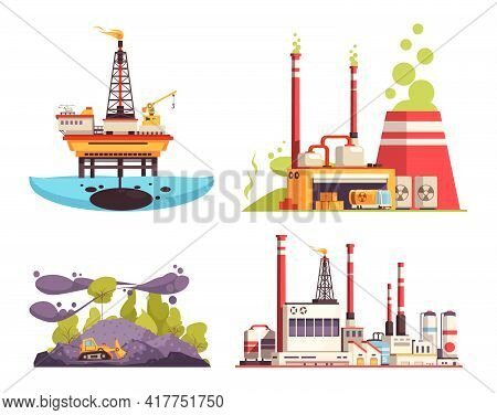 Industry 2x2 Design Concept Set Of Oil Offshore Platform Refinery Power Station Pollution Isolated V