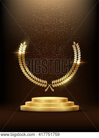 Golden Podium With Laurel Glowing. Gold Stage With Glitter And Light Fog On Dark Background. Hollywo