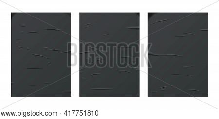 Glued Black Paper Sheet Set Isolated On White Background. Vector Realistic Crumpled Posters Bundle.