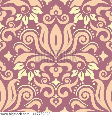 Royal Damask Fabric Print Pattern, Retro Textile Vector Design With Flowers, Leaves And Swirls