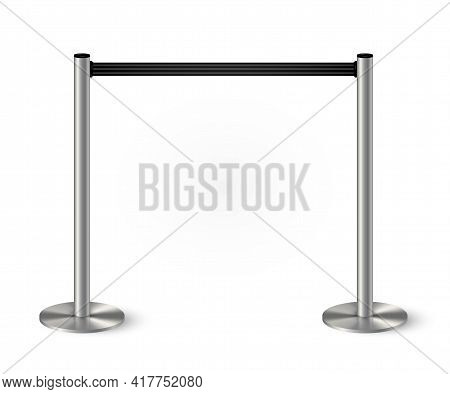 Belt Barrier With Stanchions And Black Rope. Security Control Metal Pole Posts Vector Illustration.