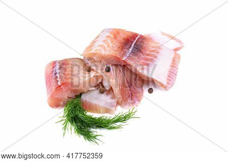 Pangasius Fish Fillet, Pieces Decorated With A Sprig Of Dill. Isolated On A White Background. Fresh