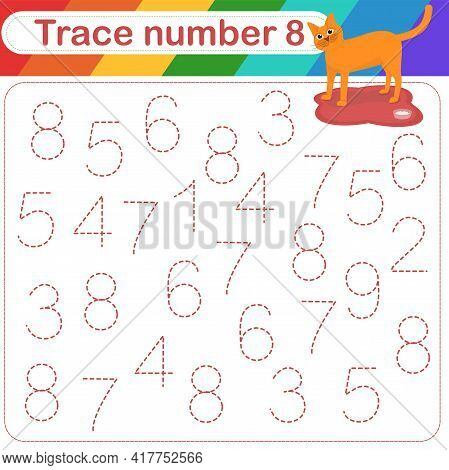 Vector Illustration Of Activity Page For Handwriting Practice. Learning Numbers For Kids.trace Numbe