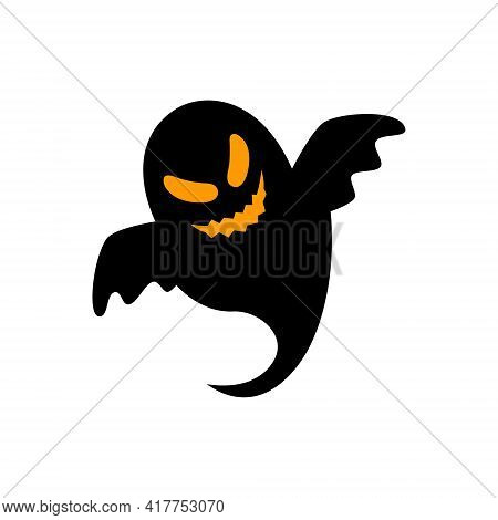 Flying Ghostly Spirit. Happy Halloween. Scary Ghosts. Cute Cartoon Spooky Character. Flat Design. Ve