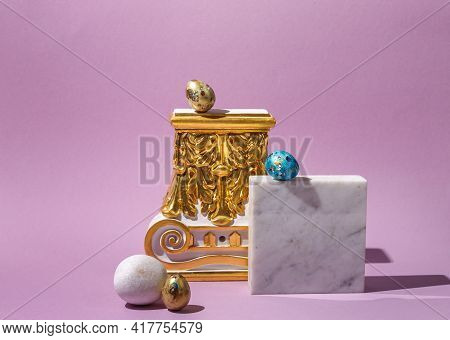 Easter Content. Abstract Composition, Easter Painted Eggs On Architectural Elements, Gilded Capital