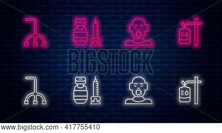 Set Line Syringe, Head Of Deaf And Dumb, Walking Stick Cane And Iv Bag. Glowing Neon Icon On Brick W