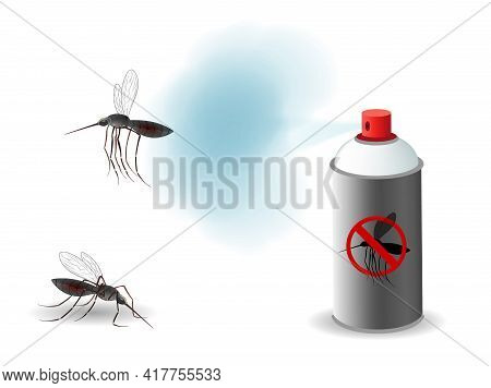 Anti Mosquito Spray. Mosquito Reppelent. Blood Sucking Insects, Peddler Of Dengue, Zika Virus And Ma