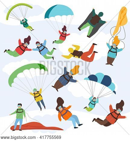 Parachute Extreme Free Fall Vector Illustration Set. Parachutist Fall Down In Sky, Female And Male P