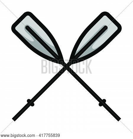 Icon Of Boat Oars. Editable Bold Outline With Color Fill Design. Vector Illustration.