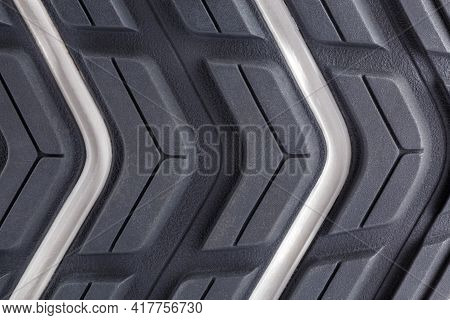 Close-up Full Frame Background Of New Generic Contemporary Sneakers Outsole With Protector Shapes